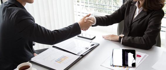 Top view Business handshake