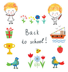 Back to school cute background with kids