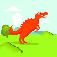 cute dinosaur vector graphic, t-rex image