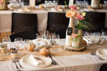 Déco de table de mariage champêtre