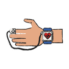 Colorful smartwatch doodle over white background vector illustration