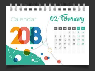 February 2018. Desk Calendar 2018