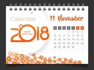 november 2018 desk calendar 2018