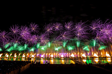 Moscow International Festival Circle of light. Firework show on Moscow rowing basin