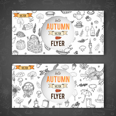 Hand drawn doodle Autumn icons set. Vector illustration. Fall symbols collection. Cartoon seasonal card template elements: turkey, harvest, vegetables, pumpkin pie, leaves, trees, hot tea, mushrooms