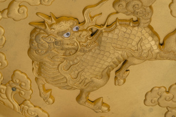 Gold Gilt Wood Carving of Qilin on Kitano Temple.