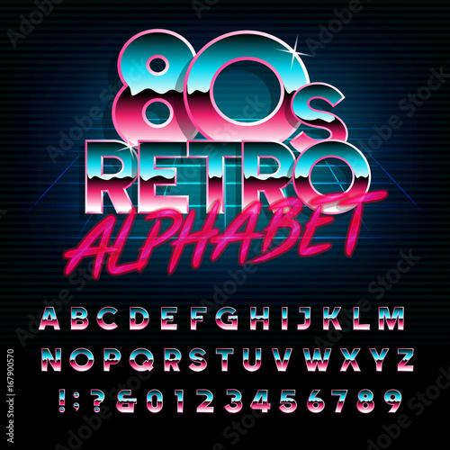 80's retro alphabet font  Metallic effect type letters and numbers