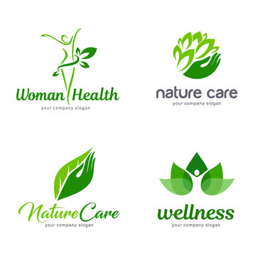 Organic and nature care vector logo set