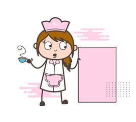Cartoon Waitress Holding a Hot Tea and Banner Vector