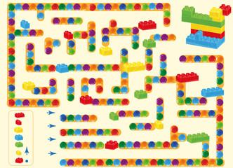 labyrinth.  children plastic bricks toy and balls. find way as shown in plan. vector isolated on a simple background (editable layers)