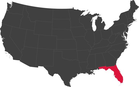 Map of the United States of America split into individual states. Highlighted state of Florida.