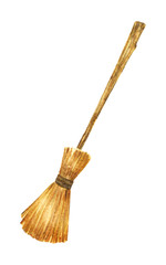 Magic Witch Broom. House cleaning equipment. Watercolor illustration