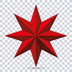 Volume eight-pointed red star on transparent background, 3d object, geometry shape, mesh version, vector object for you project