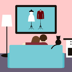 Couple and cat watching a wedding movie on television.