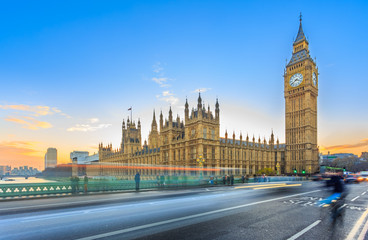 Foto auf Leinwand London roten bus LONDON – DECEMBER 5, 2014: Big Ben and Palace of Westminster, Westminster Bridge on River Thames in London landmark, UK. UNESCO World Heritage Site. Long exposure image at sunset & twilight