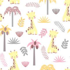 Seamless pattern with cute giraffe
