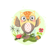 Cartoon owl children illustration