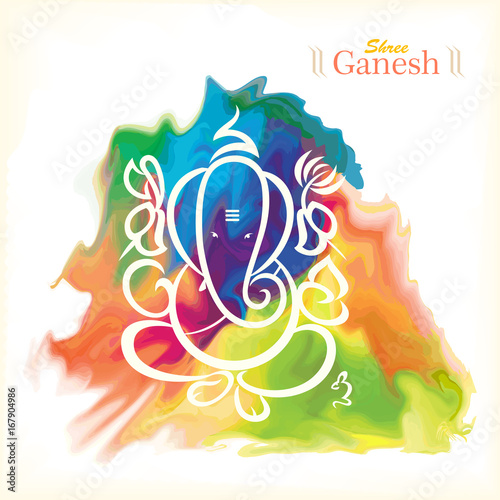 Greeting card of lord ganesh with colorful background stock image greeting card of lord ganesh with colorful background m4hsunfo
