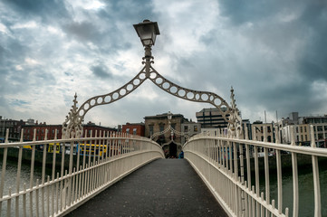 Halfpenny bridge over river Liffey in Dublin