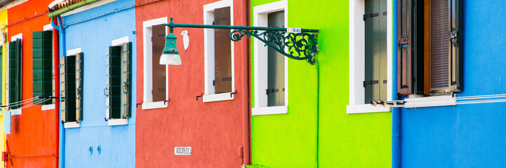 The famous colorful island of Burano in the lagoon of Venice