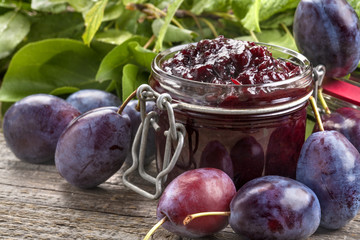 A delicious homemade jam made of freshly harvested organic plums