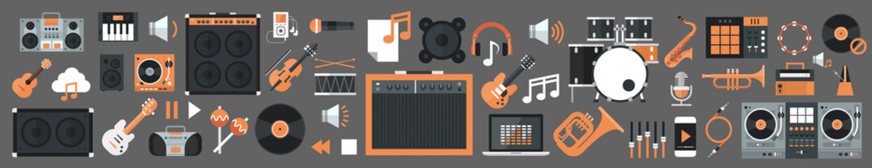 Seamless Pattern Music Instruments And Equipment Electronics Icons Flat Vector Illustration Wall mural