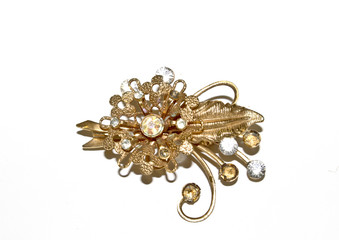 Antique Pendant Brooch on White Background