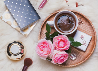 Coffee, roses and other feminine accessories