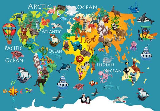 World  animals plasticine colorful kids 3d map