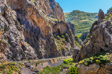 The Kourtaliotiko Gorge (or Asomatos Gorge) - gorge on the southern side of the western part of the island of Crete. Greece.