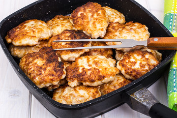 Fried chopped cutlets in frying pan