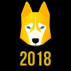2018 happy new year card. Husky dog and polygonal 2018