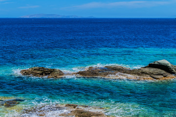 Views of the beautiful nature of the shore and the bay bay of Agia Pelagia near Heraklion, Crete, Greece.