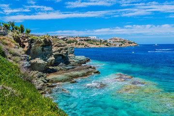 Views of the beautiful nature of the shore and the bay bay of Agia Pelagia near Heraklion, Crete, Greece. Fototapete