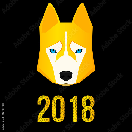 2018 happy new year card husky dog and polygonal 2018