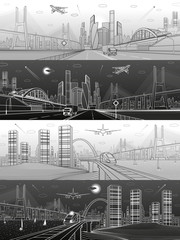 Infrastructure and transport panoramic set. Train move on railway. Airplane fly. Wide highway. Truck rides. Big bridge. Modern city, towers and skyscrapers. White and black lines. Vector design art