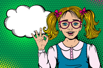 Wow face. Cute surprised blonde school girl in glasses with open mouth shows ok sign and  empty speech bubble on halftone. Vector illustration in retro pop art comic style. Back to school poster.