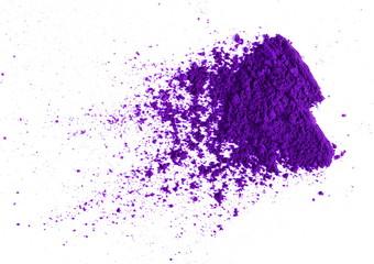Purple eye shadow, powder isolated on white background