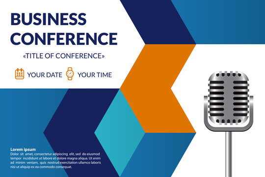 Business conference invitation concept. Colorful simple geometric background. Retro microphone. Template for banner, poster, flyer, magazine page. Vector eps 10.