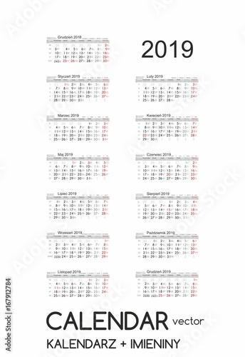 Calendar 2019 Kalendarz 2019 Vector Obrazów Stockowych I Plików