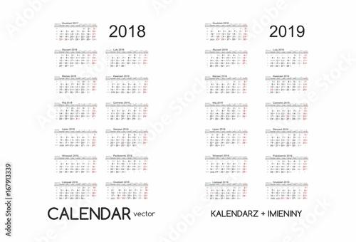 Quot Calendar 2018 2019 Kalendarz 2018 2019 Vector Quot Obraz 243 W
