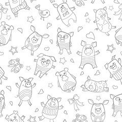 Seamless pattern with funny cartoon pigs , dark outline on a white background