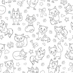 Seamless pattern with funny cartoon foxes, dark outline on a white background
