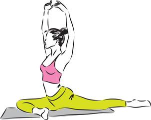 woman fitness stretching illustration