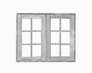 Old wooden window isolated on white background.