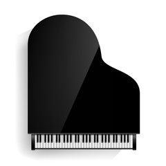 Black Grand Piano Icon Vector With Shadow. Realistic Keyboard. Isolated Illustration.