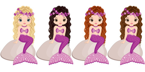 Vector Cute Little Mermaids Sitting on Stones. Vector Mermaids