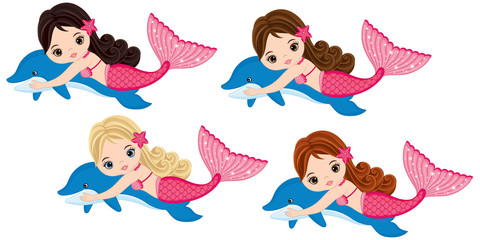 Vector Cute Little Mermaids Swimming with Dolphins. Vector Mermaids