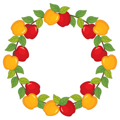 Vector Wreath with Apples
