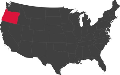 Map of the United States of America split into individual states. Highlighted state of Oregon.